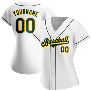 Custom White Green-Gold Authentic Baseball Jersey
