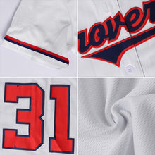 Load image into Gallery viewer, Custom White Navy-Gold Authentic Baseball Jersey