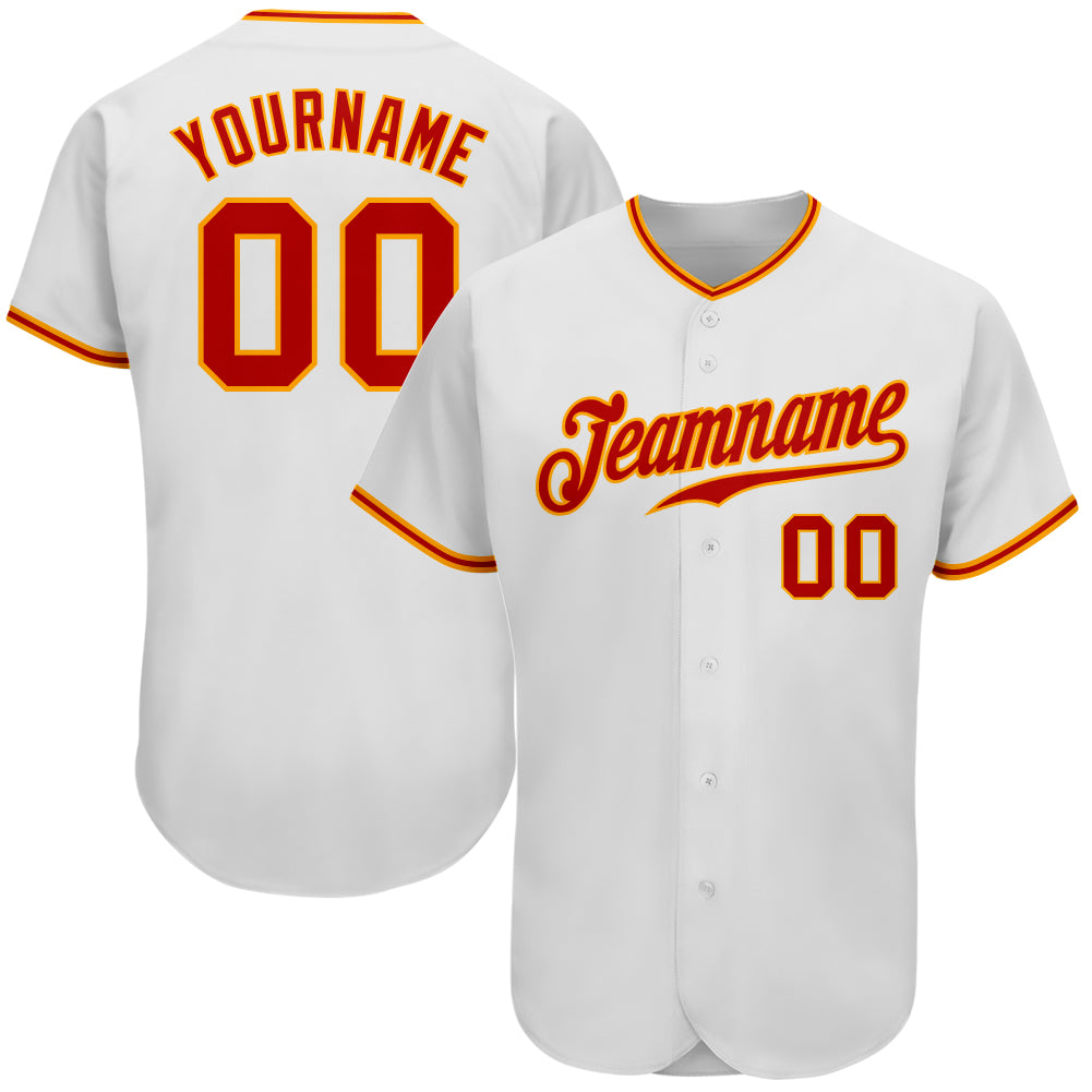 Custom White Red-Gold Authentic Baseball Jersey