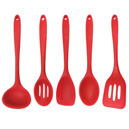 5-PIECE SILICONE COOKING TOOLS – RED
