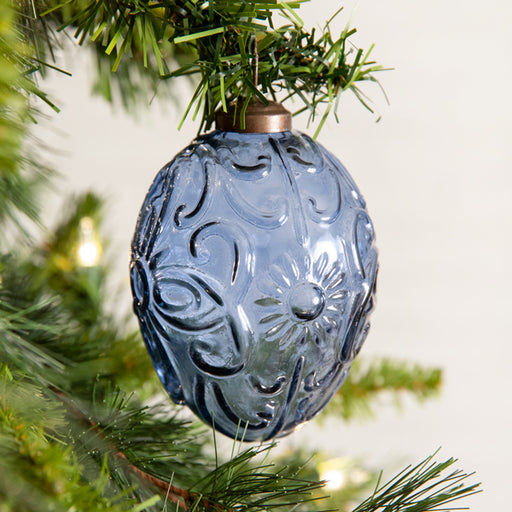 Blue Egg Shaped Glass Ornament - Box of 4