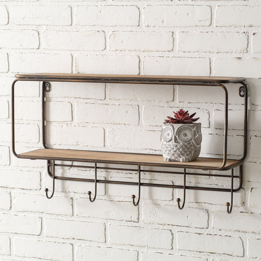 Two-Tier Wood Wall Shelf with Five Hooks