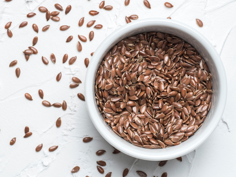 bowl of flax seeds