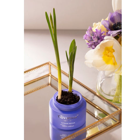 empty night cream jar with tulips in