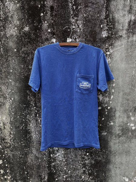 BBQ Rubdown Dual Logo Pocket Tee Front in Peri Blue