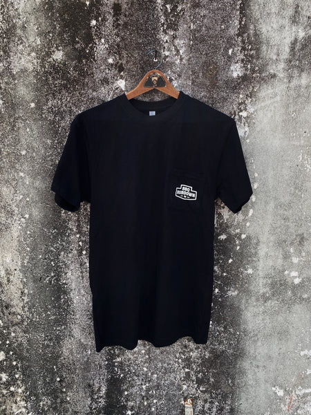 BBQ Rubdown Dual Logo Pocket Tee Front in Black