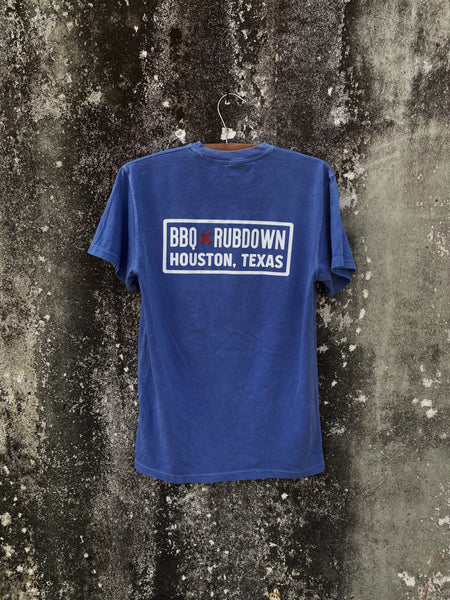 BBQ Rubdown Dual Logo Pocket Tee Back in Peri Blue