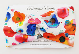Twist detail stretchy headband - White Watercolour Floral - BoutiqueCrafts