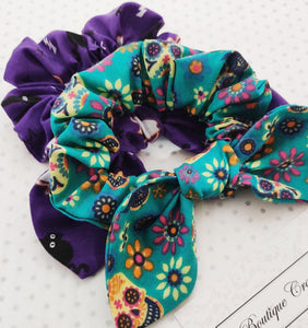 Halloween Scrunchie 2 pack set - Sugar Skulls and Cats