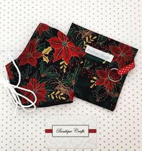 Load image into Gallery viewer, Christmas Face Mask and Bag Set - Christmas Black and Gold Metallic Floral