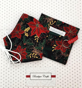 Christmas Face Mask and Bag Set - Christmas Black and Gold Metallic Floral