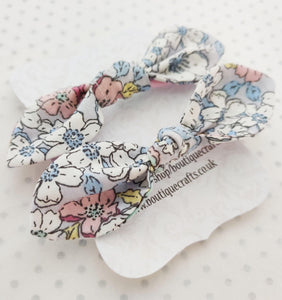 Girls Hair Bow Bobble Ties - Blue Pastel Floral Print