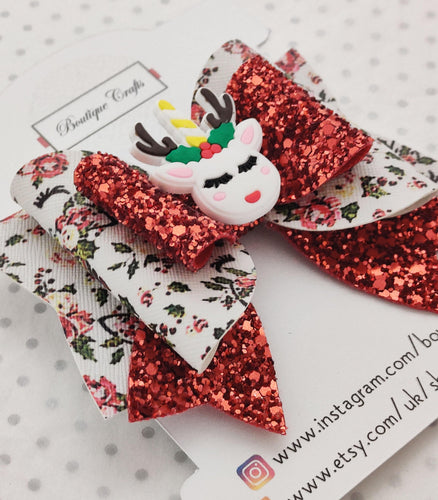 Reindeer Glitter Hair Bow
