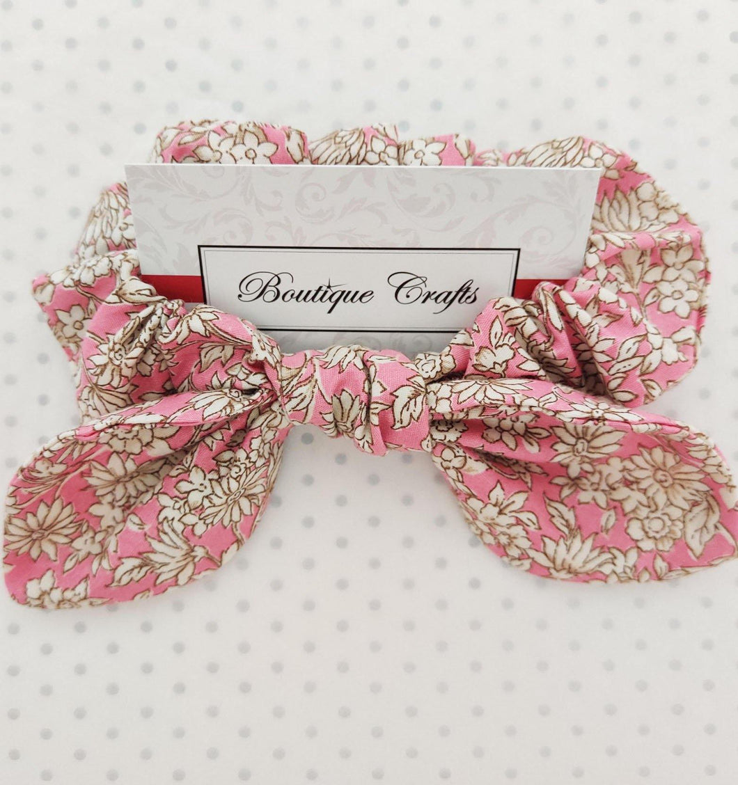 Pink Floral Hair Bow Scrunchie