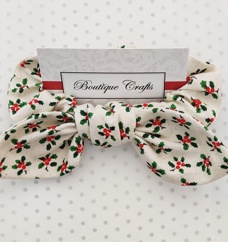 Holly Print Bow Scrunchie