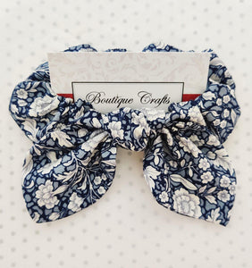 Navy Floral Hair Bow Scrunchie