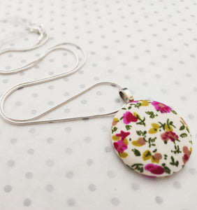 "Handmade Fabric covered button necklace - Ivory Ditsy Floral Fabric - 18"" Silver Plated Snake Chain"