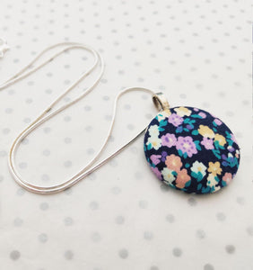 "Handmade Fabric covered button necklace - Navy Ditsy Floral Fabric - 18"" Silver Plated Snake Chain - BoutiqueCrafts"
