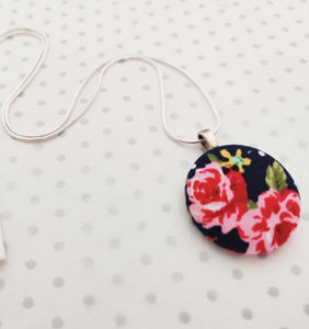 "Handmade Fabric covered button necklace - Navy Roses Floral Fabric - 18"" Silver Plated Snake Chain"