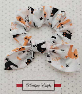Halloween Scrunchie 2 pack set - Skeletons and Cat Print