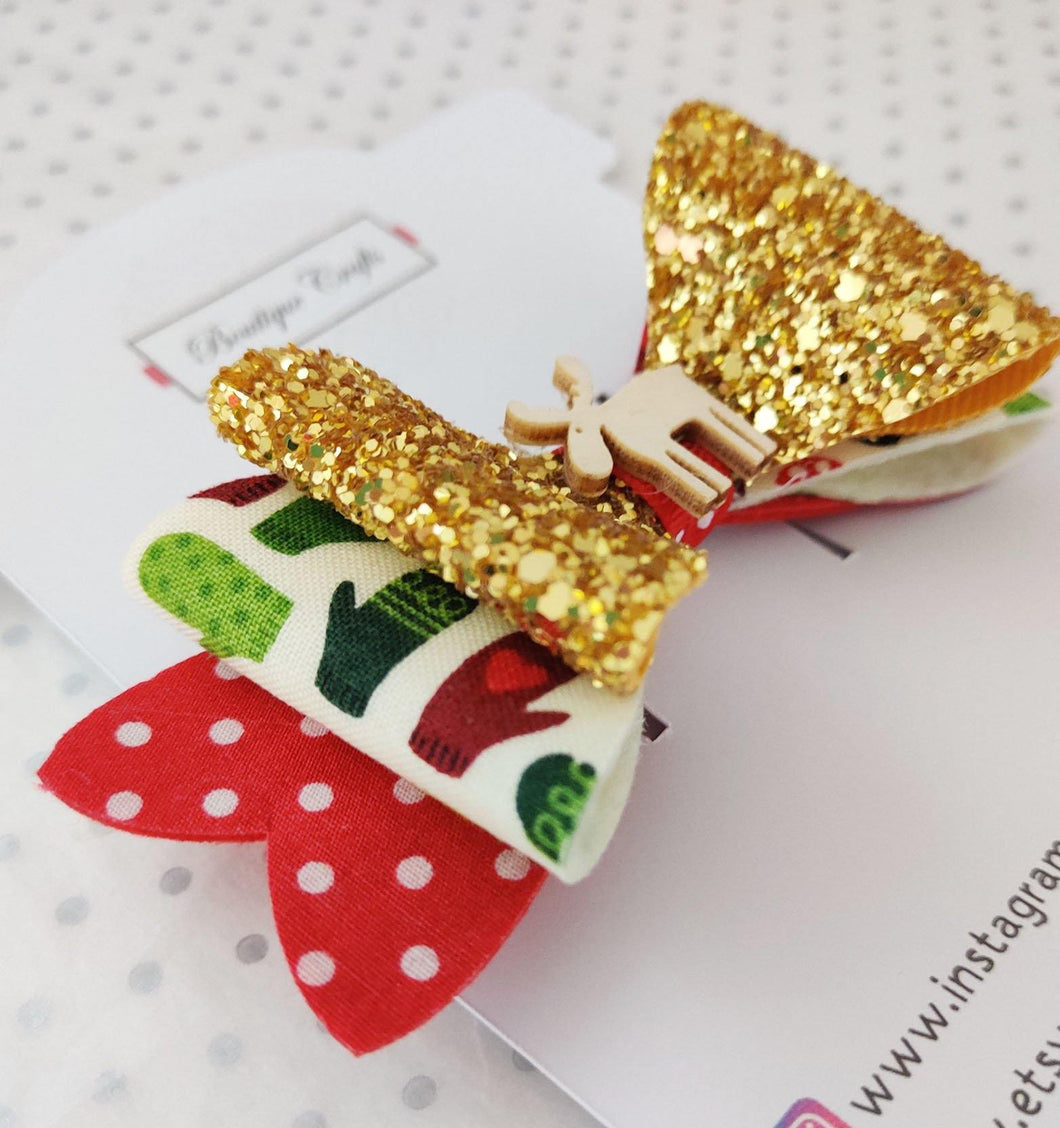 Girls Stacked Christmas Glitter Hair Bow Clips - Gold Glitter with Stockings