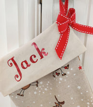 Load image into Gallery viewer, Personalised Christmas Stocking - Fully Lined with Red Grosgrain ribbon trim and red holographic vinyl.
