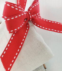 Personalised Christmas Stocking - Fully Lined with Red Grosgrain ribbon trim and red holographic vinyl.