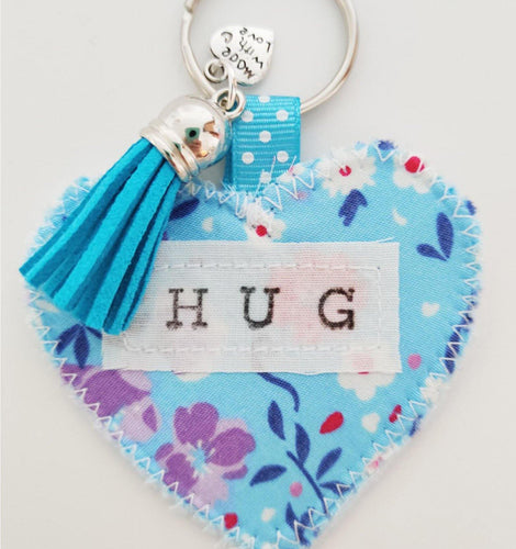 Handmade Pocket Hug heart fabric keyring with tassel - Cornflower Blue Floral Print - bag charm - keychain - missing you gift - stay safe gift - BoutiqueCrafts
