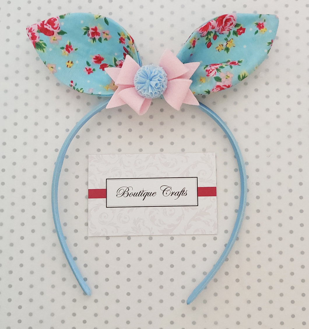 Bunny Ear Headband with detachable bow - Blue and Pink