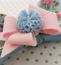 Load image into Gallery viewer, Bunny Ear Headband with detachable bow - Blue and Pink