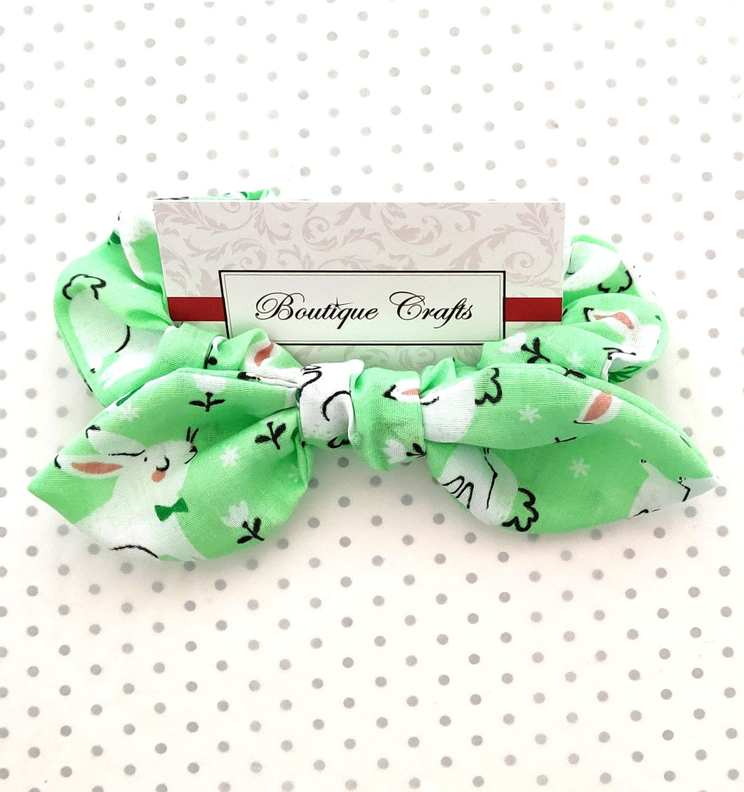 Easter Hair Bow Scrunchie with small bow tails - Green Bunny