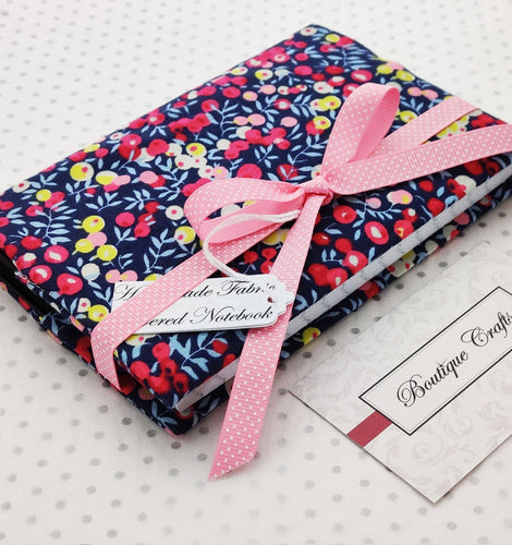 Handmade Small Fabric Covered Notebook - Lined Paper - Navy Berries Print with Ribbon Ties - BoutiqueCrafts
