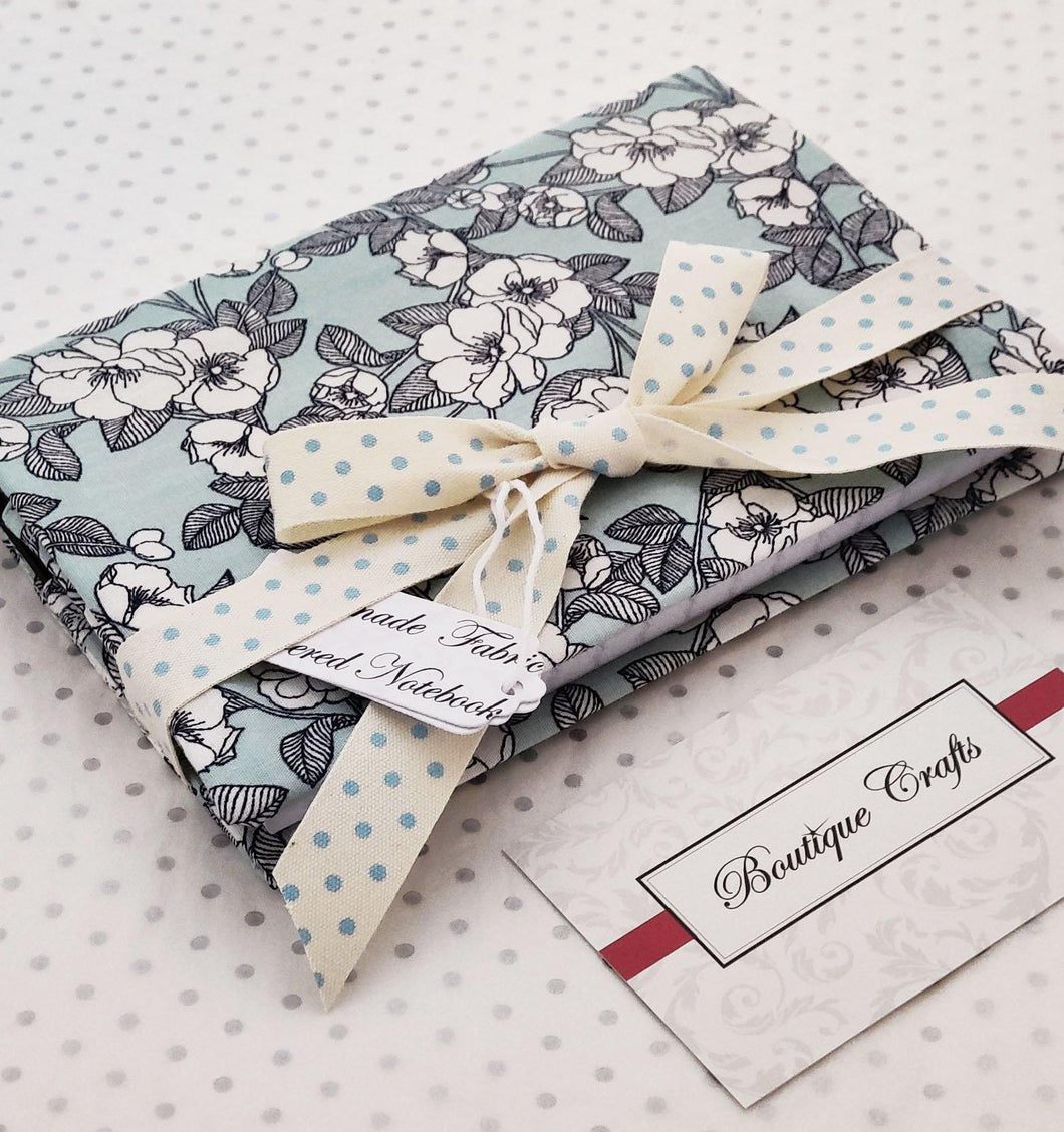 Handmade Small Fabric Covered Notebook - Lined Paper - Mint Floral Print with Ribbon Ties