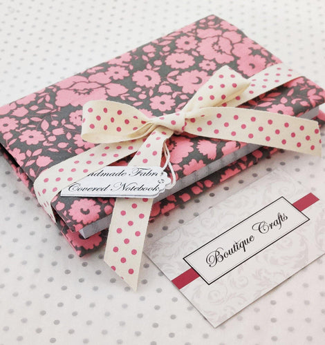 Handmade Small Fabric Covered Notebook - Lined Paper - Pink and Grey Print with Ribbon Ties - BoutiqueCrafts