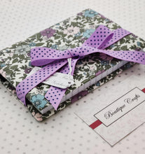 Load image into Gallery viewer, Handmade Small Fabric Covered Notebook - Lined Paper - Purple and Sage Floral Print with Ribbon Ties