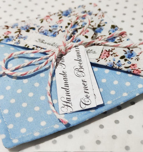 Fabric Page Corner Bookmark - Blue Ditsy Floral - BoutiqueCrafts