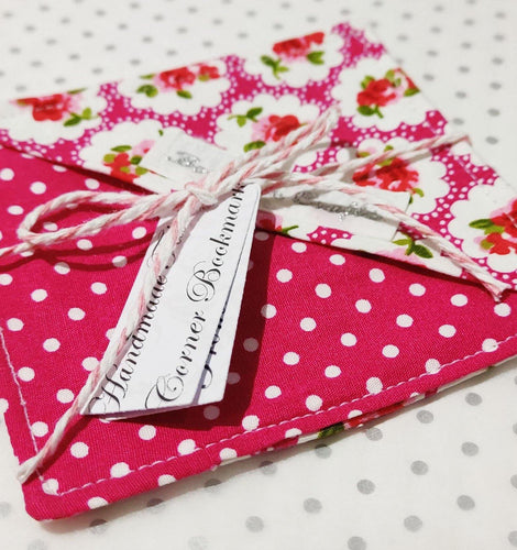 Fabric Page Corner Bookmark - Bright Pink Roses - BoutiqueCrafts