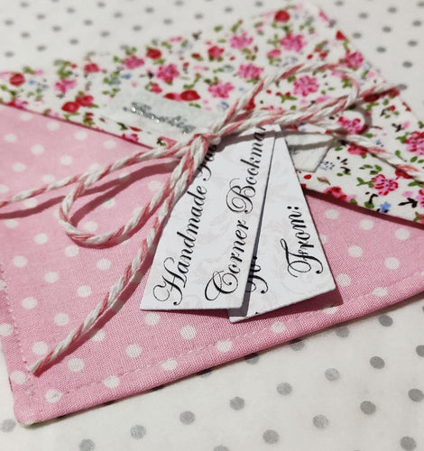 Fabric Page Corner Bookmark - Pink Ditsy Floral - BoutiqueCrafts