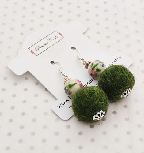 Handmade Felt Beaded Earrings - Khaki - BoutiqueCrafts