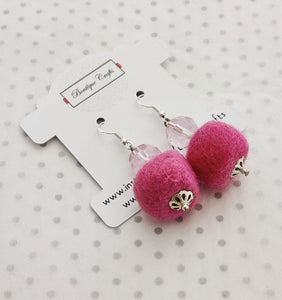 Handmade Felt Beaded Earrings - Pink - BoutiqueCrafts