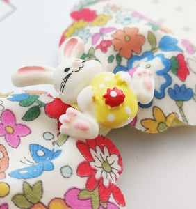 Floral Hair Bow Clip with Bunny Rabbit