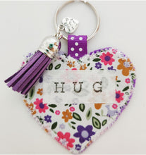 Load image into Gallery viewer, Handmade Pocket Hug heart fabric keyring with tassel - Folk Floral Print - bag charm - missing you gift - stay safe gift