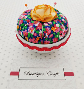 Cupcake Pin Cushion - Fuschia Floral - needle holder - notions - pin holder - sewers gift - quilters gift - crafter's gift - birthday present