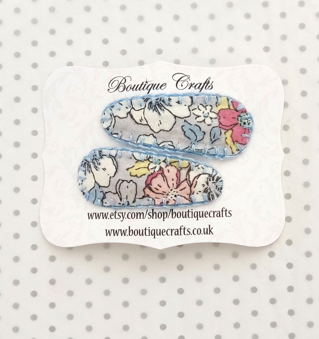 Hair Clips - Pastel Blues Floral Fabric Snaps