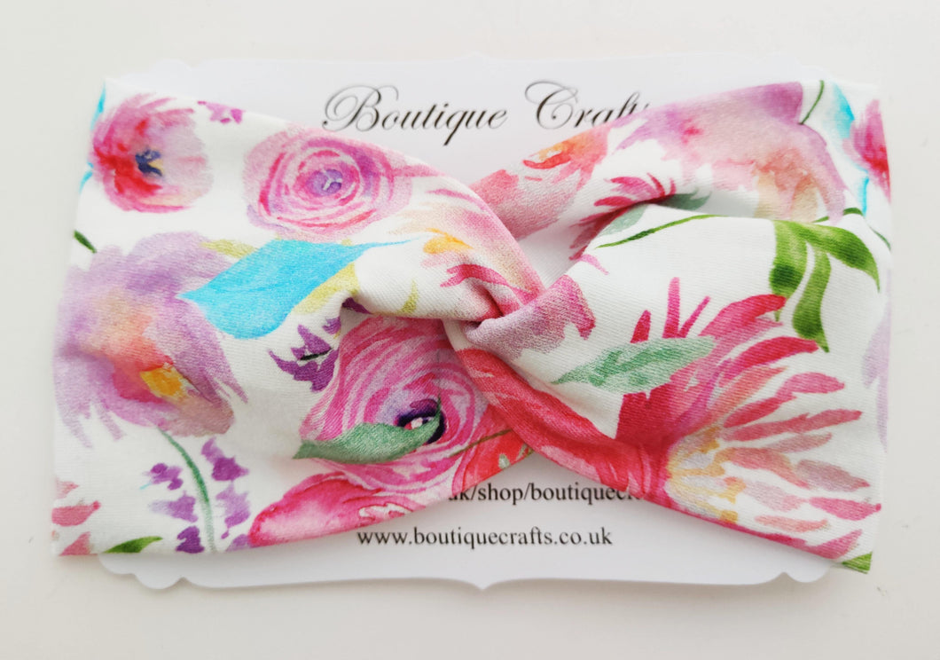 Twist detail stretchy headband - Pink Roses - BoutiqueCrafts