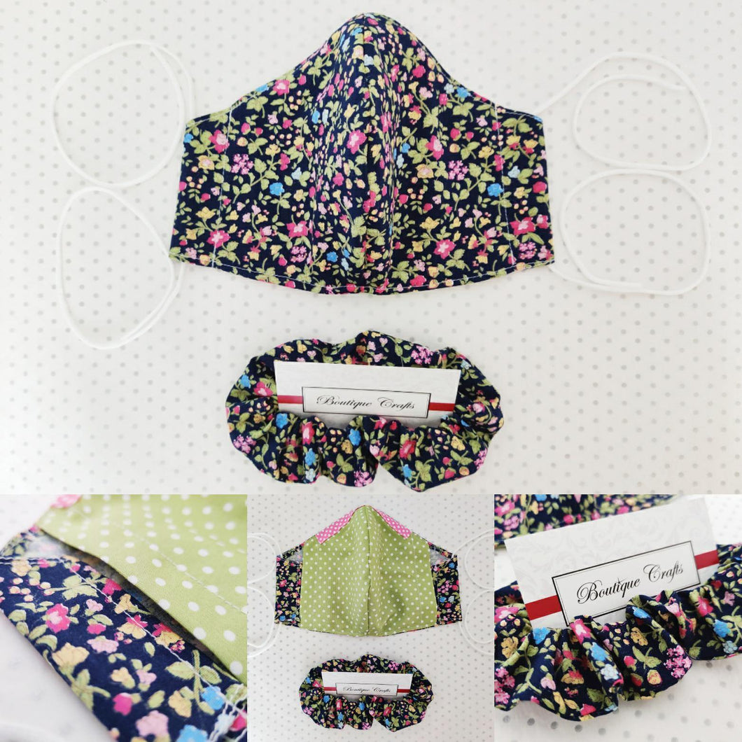 Face Mask and Matching Scrunchie Set - Navy Floral Print - Green Polka Dot Lining