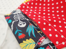 Load image into Gallery viewer, Halloween Face Mask - Removable Nose Wire - Filter Pocket - Adjustable Elastic Ties - Skeleton Print - Red Polka Dot Lining - BoutiqueCrafts