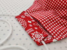 Load image into Gallery viewer, Christmas Face Mask and Matching Scrunchie Set - Baubles and Snowflakes Print - Red Gingham Lining - BoutiqueCrafts