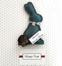 Load image into Gallery viewer, Lavender Wool Bunny - Sage Green With Liberty Print trim