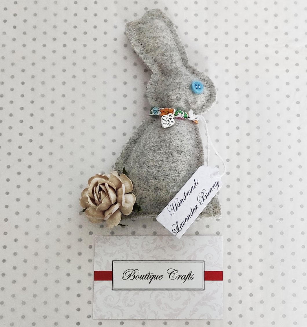 Lavender Wool Bunny - Grey With Liberty Print trim